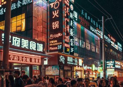 China Straßen bei Nacht Werbung Lichter