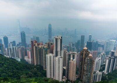 Skyline Hongkong Victoria Peek Ausblick Hong Kong China