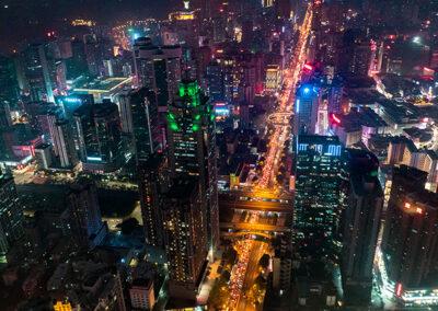 China Shenzhen by night Shenzhen bei Nacht Skyscrapers city light